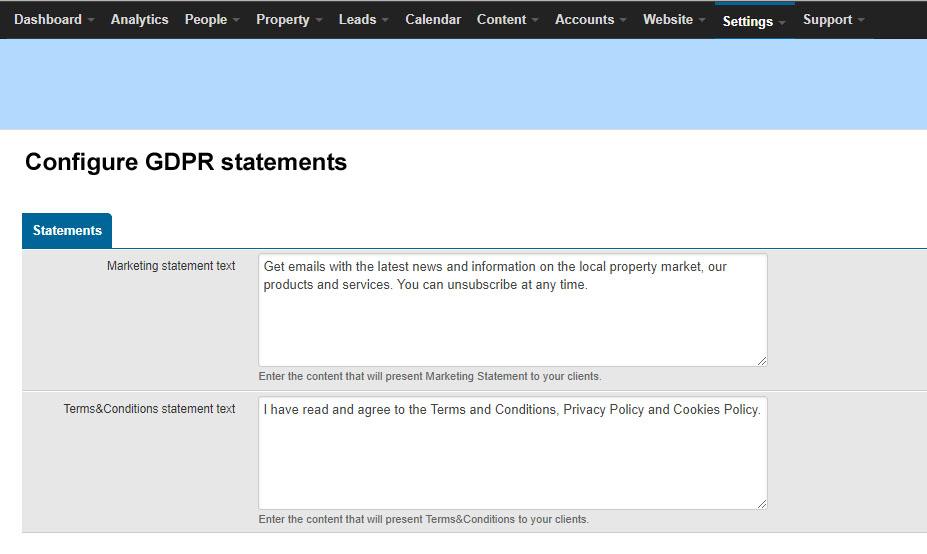 GDPR statements